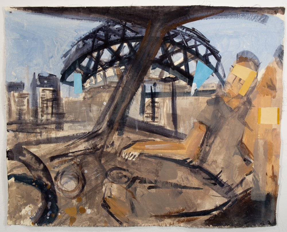 Driving on Interstate 5 by the stadiums with Carlos and Jonathan  Acrylic and paper on linen 2016