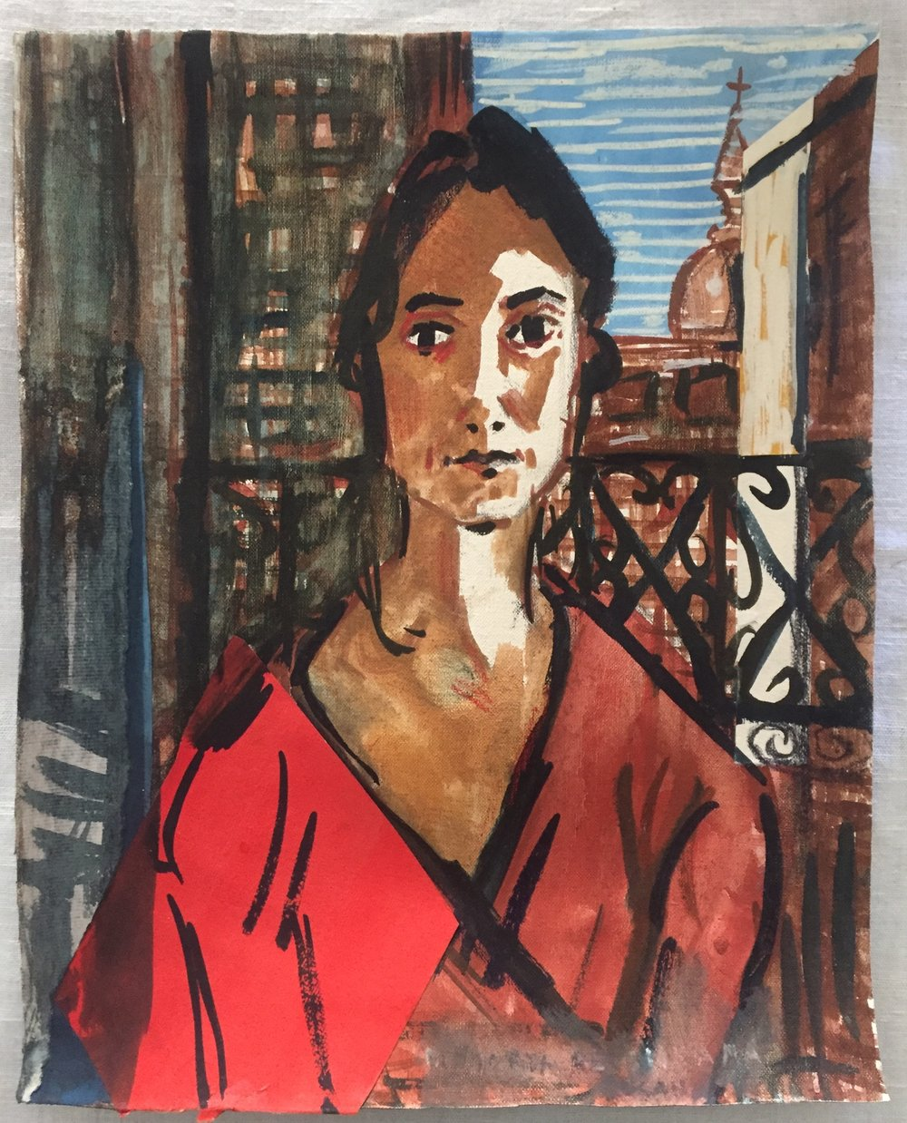 Susana in Madrid , 2018, Gouache on linen, 13.75x11 inches