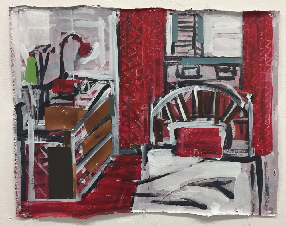 My bedroom in London , acrylic, gouache and paper on linen, 16.5x21 inches, 2018