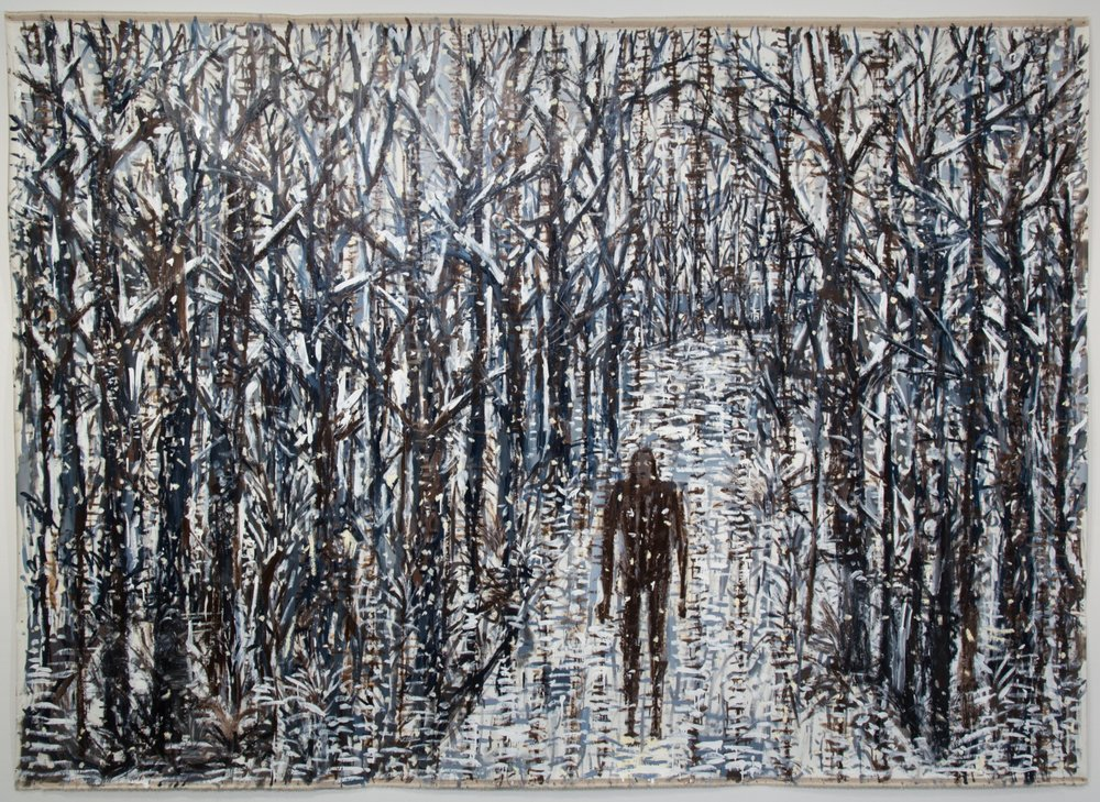 A sound in the Forest was the reason to encounter who I was walking with  Oil on linen, 85x103 inches 2017
