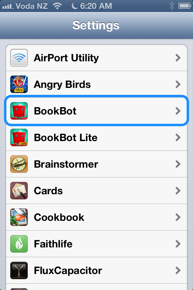 Scroll down and tap BookBot