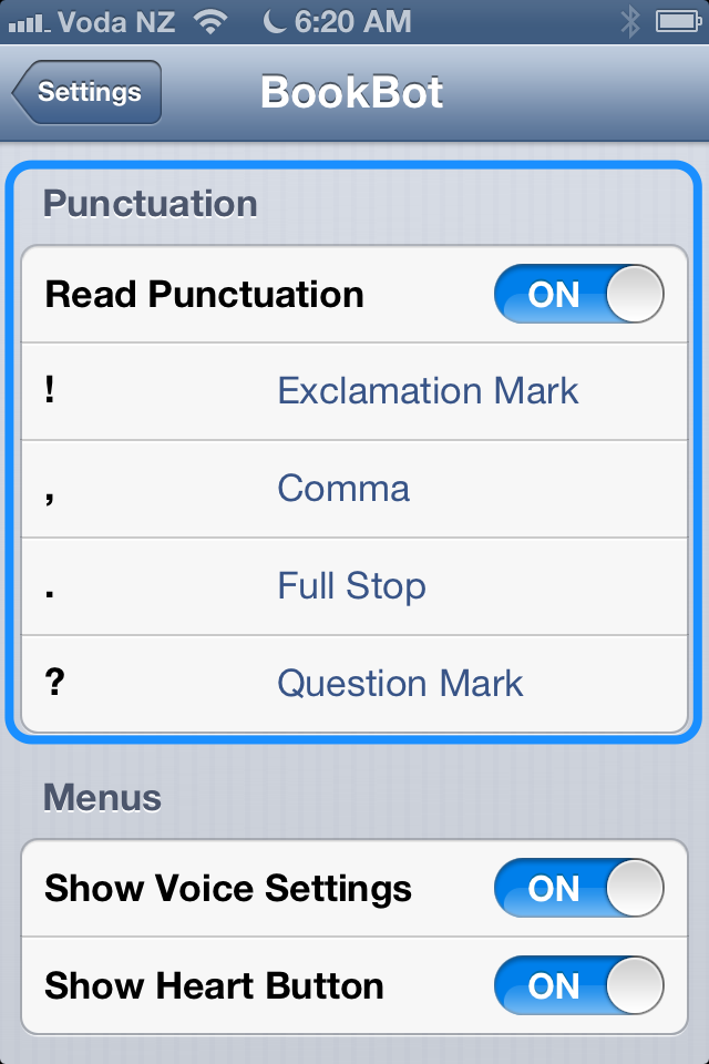 Change the punctuation settings.