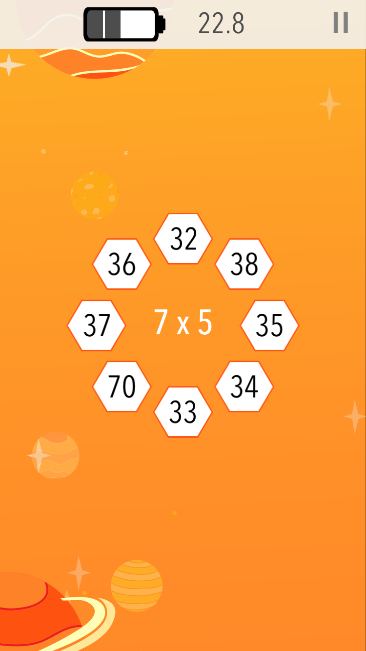 Fly through space answering questions from 2 x 2 to 12 x 12.