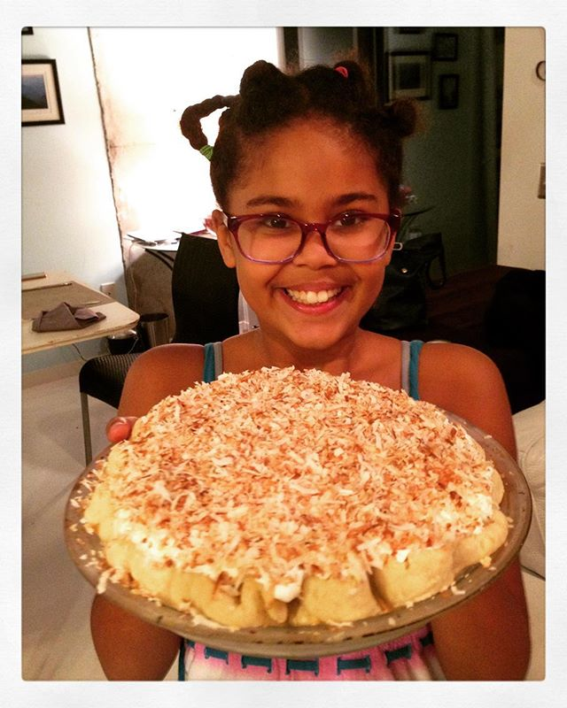 The grand finale courtesy of Jason, proudly presented by Celia: coconut cream pie. Perfection!