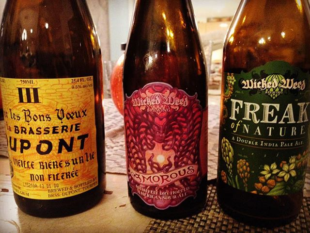 Thanksgiving beer selection. @wickedweedbrewing made the meal.