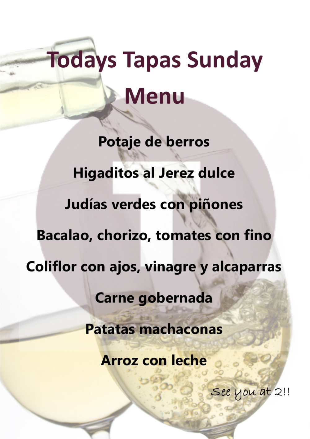 Sample Tapas Sunday Menu