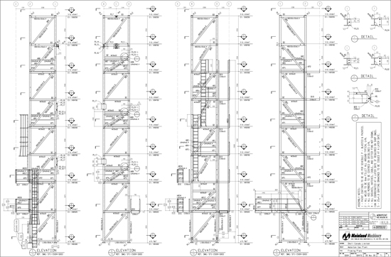 Day 23 guest blogger ryan enns matthew a hawkins drawing which shows the framing layout of all the structural steel and individual shop drawings for each piece of steel the program generated installation malvernweather Images