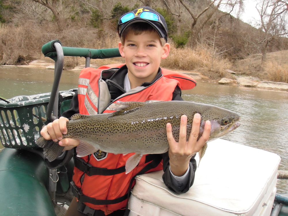 William York with a huge Guadalupe River trout