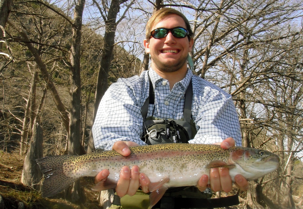 adam lange with a beautiful Guadalupe River trout