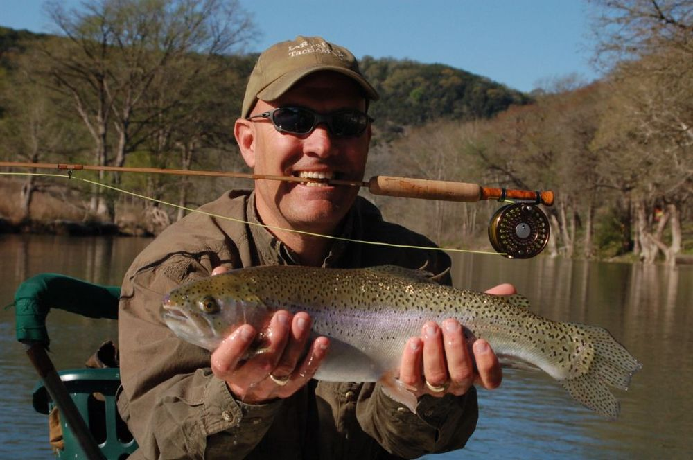 Jay Swann with a great looking Guadalupe Rainbow Trout