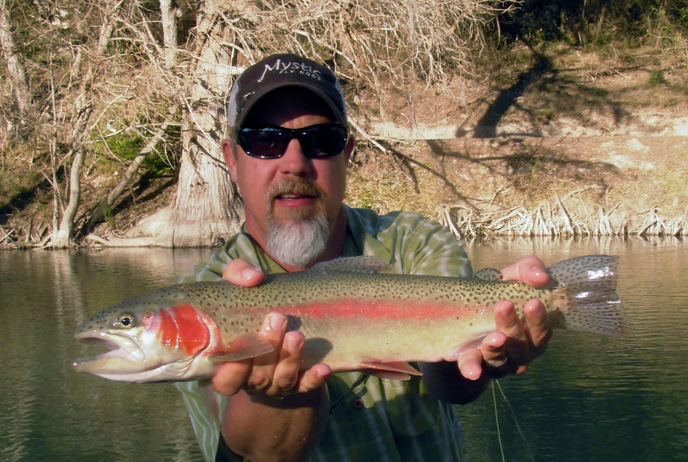 Jeff davis with a colorful rainbow trout from the for Guadalupe river fly fishing