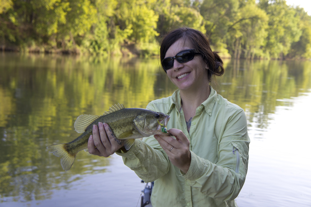 Lenee Dedeaux with a Colorado River bass