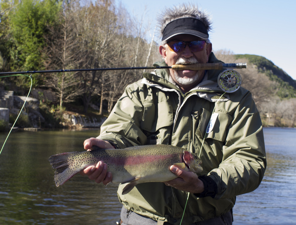 Eddie with a Guadalupe River trout