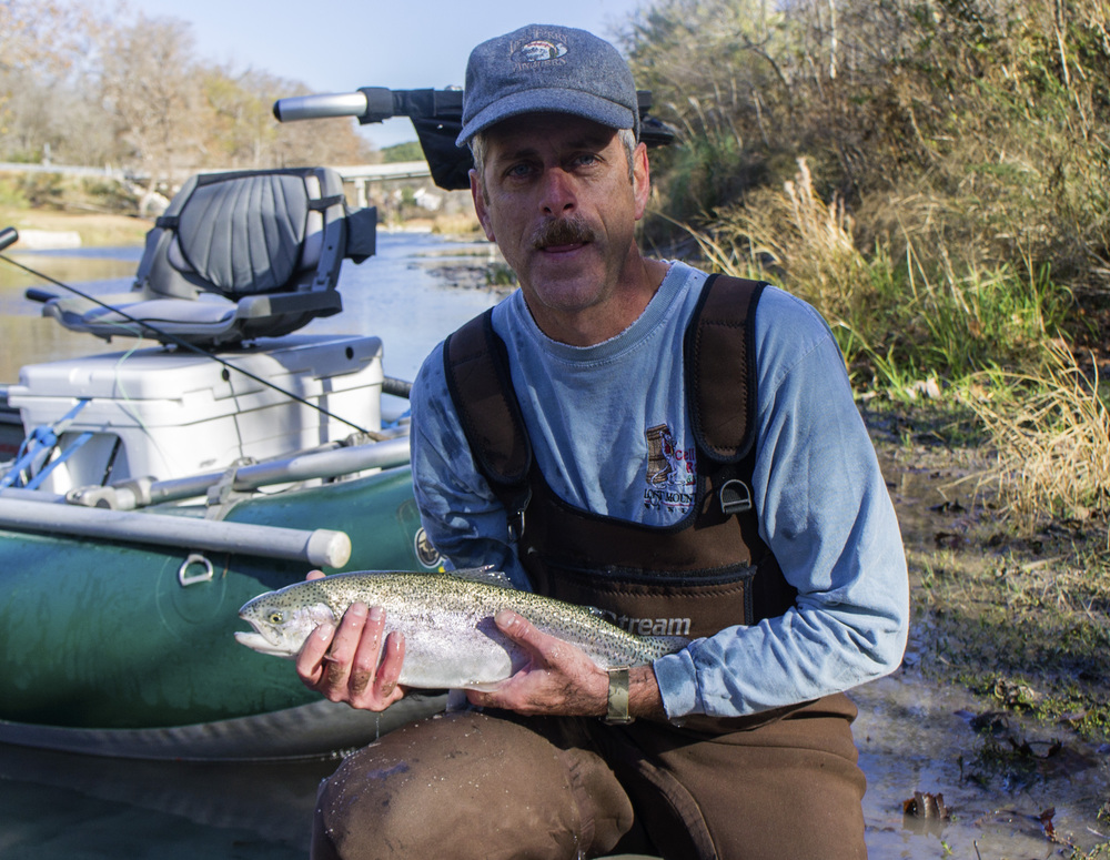 Steve Vissers with a Guadalupe River Rainbow Trout