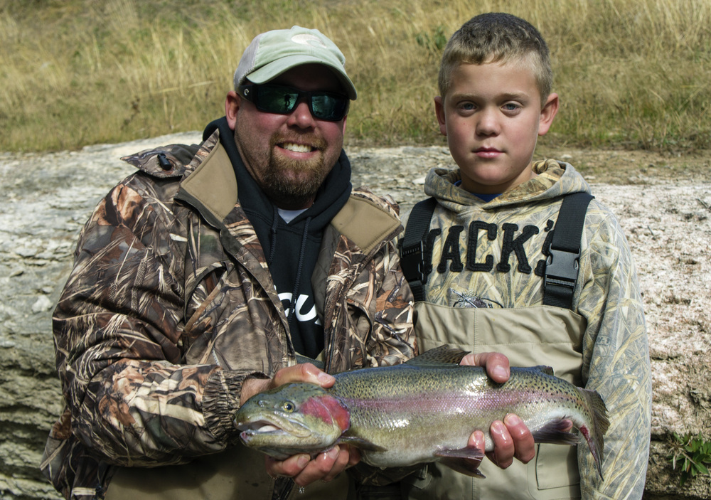 Jason and Seth with a Guadalupe River Rainbow Trout