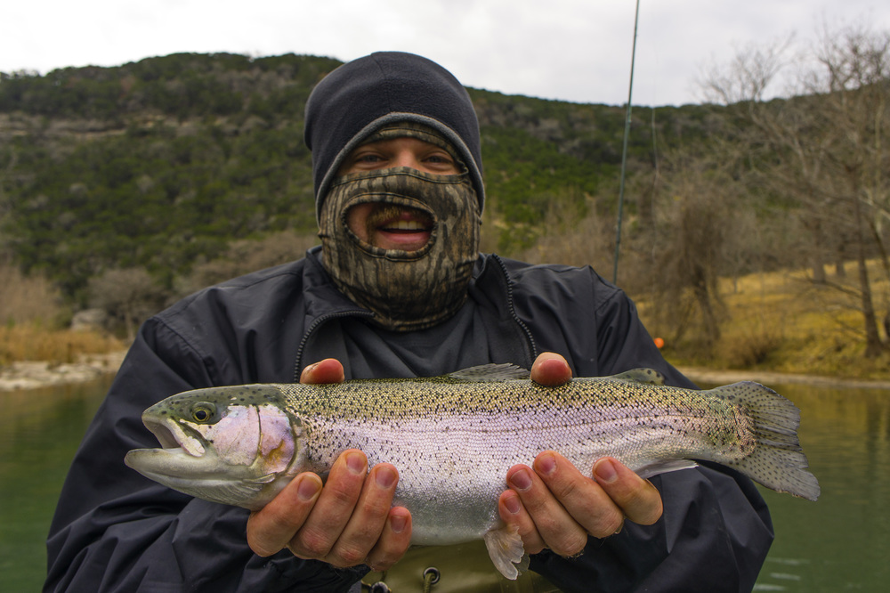 Joe getting it done on a cold day on the Guadalupe River