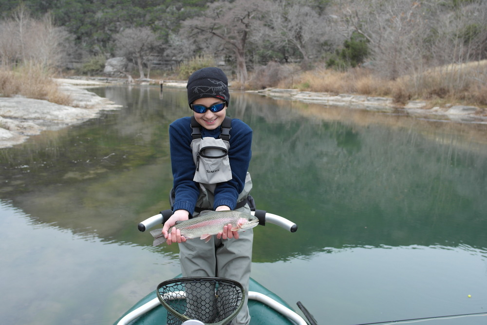 Aidan with a Guadalupe River Trout