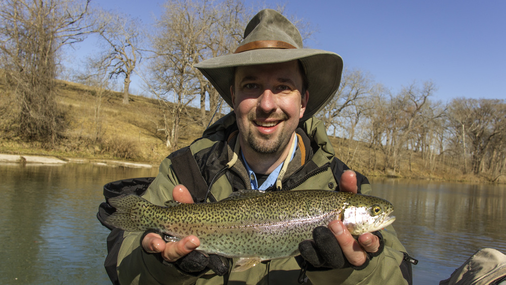 Allen with a colorful Guadalupe Rainbow Trout