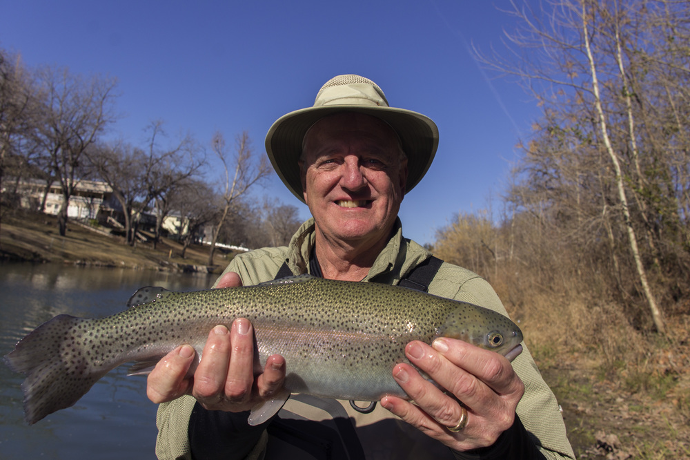 David Humphries with a Guadalupe River Rainbow trout