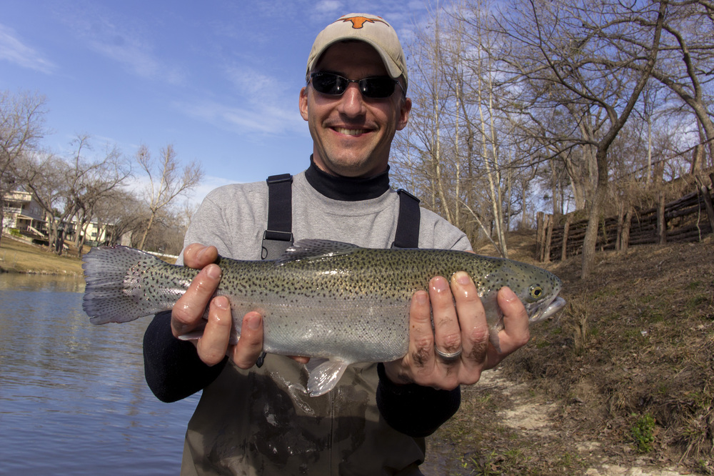 Josh with a nice Guadalupe River Rainbow Trout