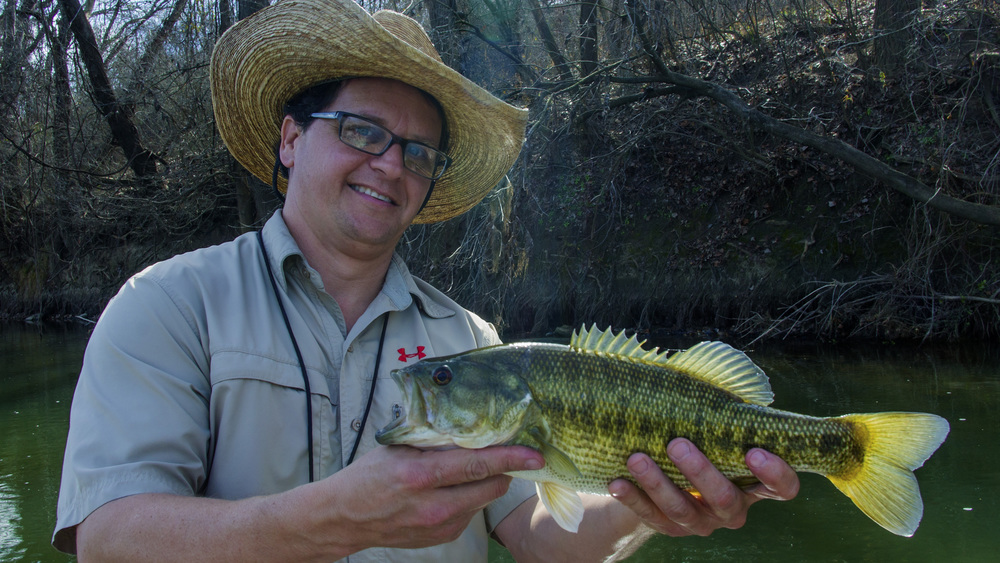 SHea McClanahan with a Colorado River Guadalupe Bass
