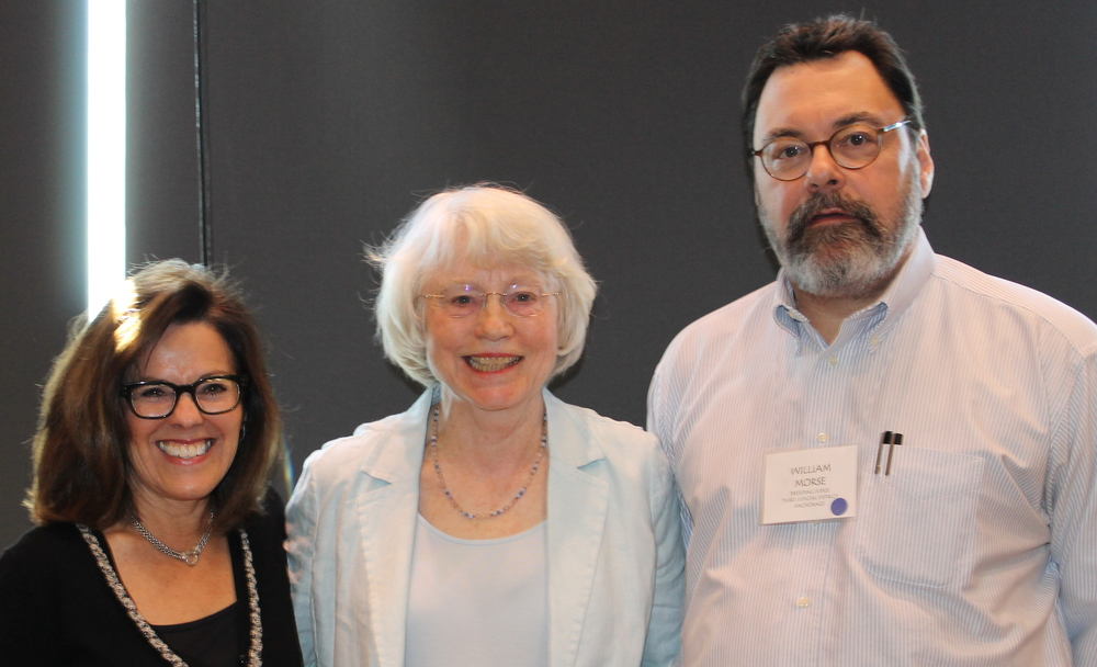 Janet McCabe, (center) Chair of the Partners for Progress Board, was awarded the 2014 Jay Rabinowitz Public Service Award by the Alaska Bar Association on May 9, 2014. Carmen Gutierrez (left) nominated Janet, Superior Court Judge William Morse (right) presented the award.