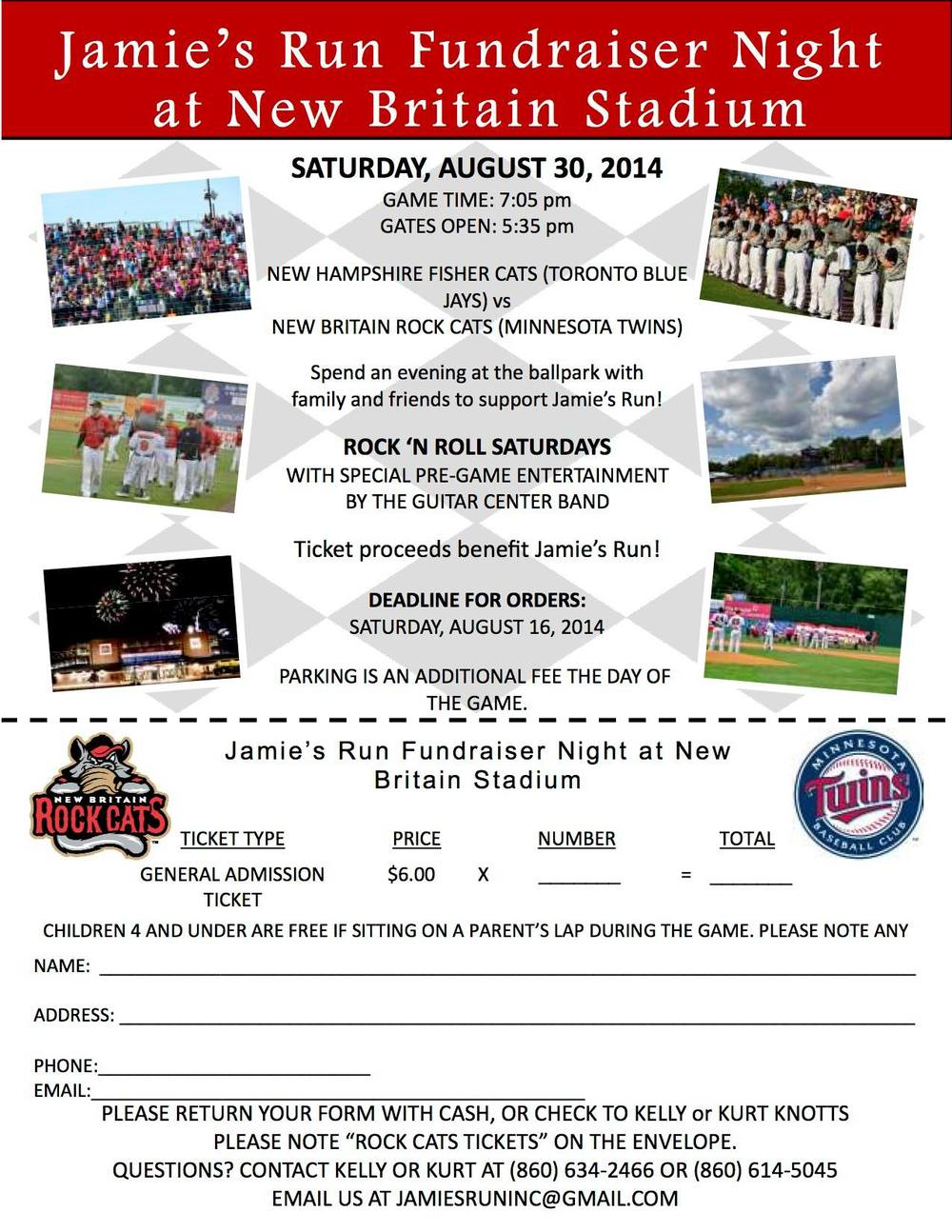 We are the featured charity at the New Britain Rock Cats game Saturday August 30th! Purchase your tickets through us at jamiesruninc@gmail.com or 860-614-5045. Cash, checks, or Charge. Only $6 per ticket!!!!