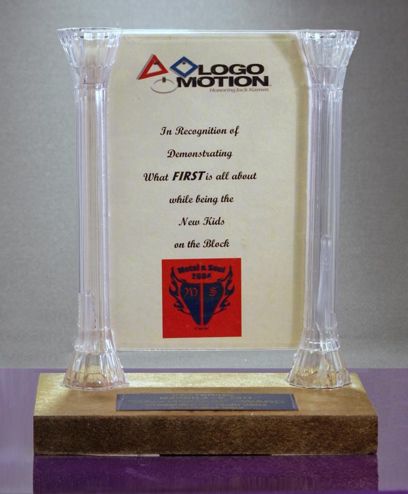 """Rad Rookie"" AwardMarch 4, 2012 Kettering Presented by Team 2604 Metal and Soul"