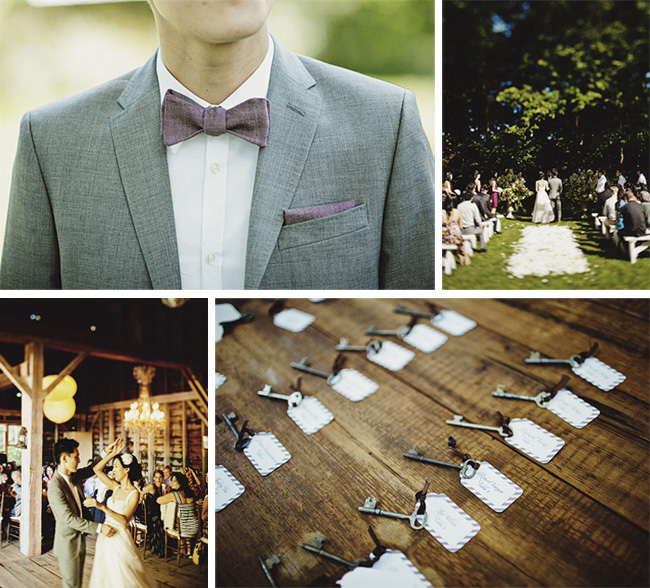 groom with bow tie, flower petal aisle, bride and groom dancing, skeleton keys escort cards