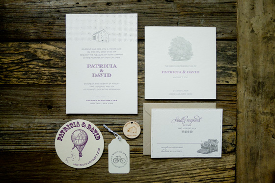 rustic letterpress barn wedding invitations