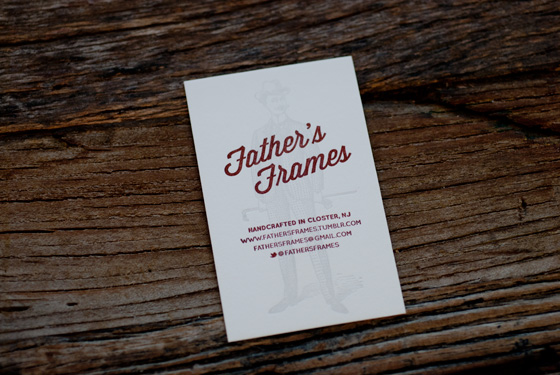 Father's Frames letterpress business cards