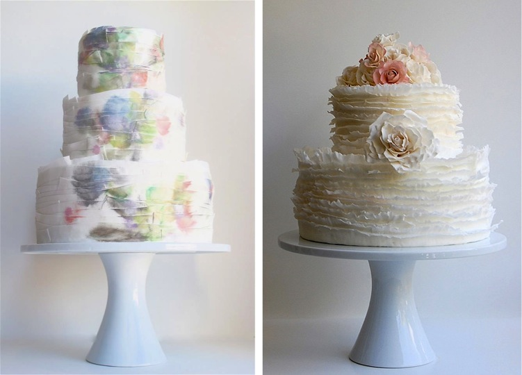 maggie austin-wedding cake-ruffled layer cake-watercolor cake