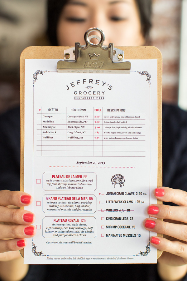 Raw Bar menu on a clipboard