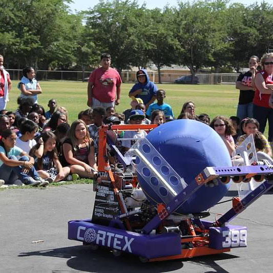 Our robot, Cortex, visiting Monte Vista elementary school