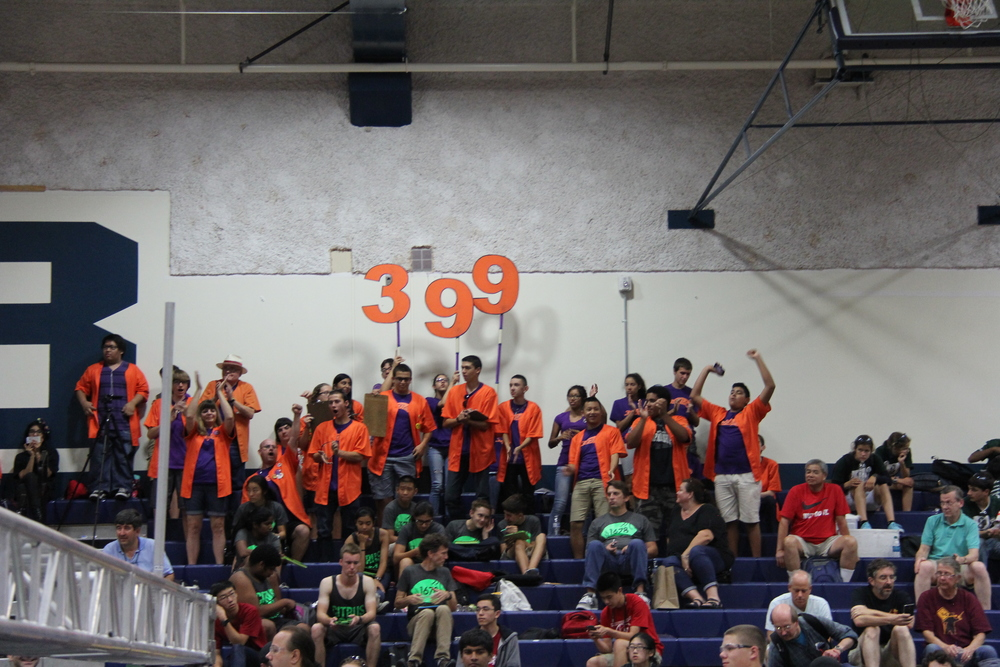 Our team cheering on our robot during a match