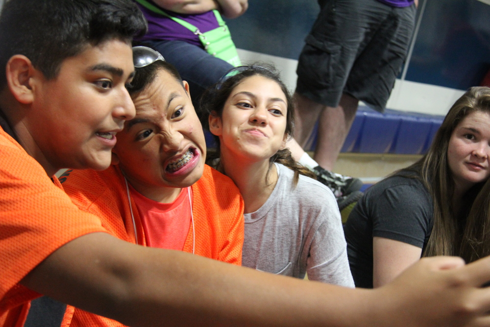 A few members of our team taking a selfie up in the stands...