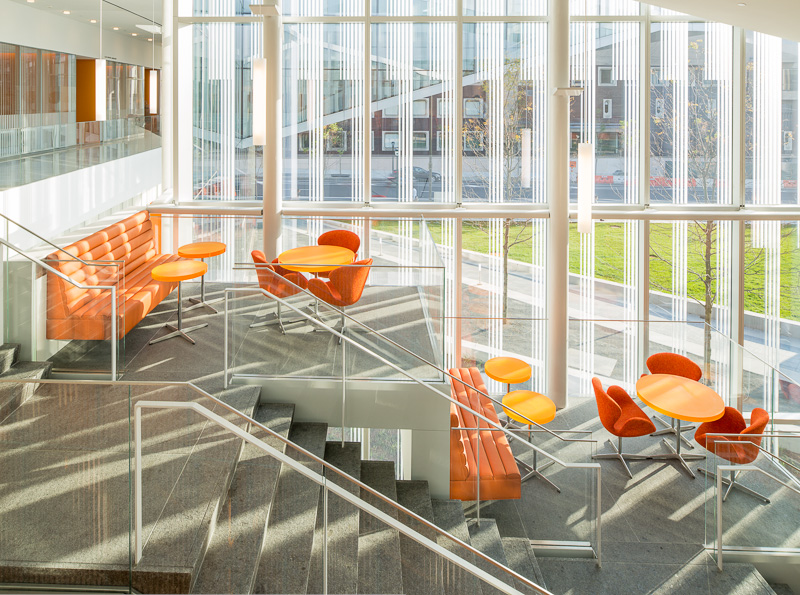 The building is littered with brightly-colored terraces for meetings and studying.