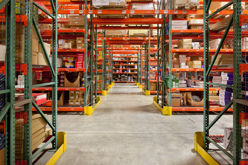 Simplicity and orderliness are key inside a warehouse.