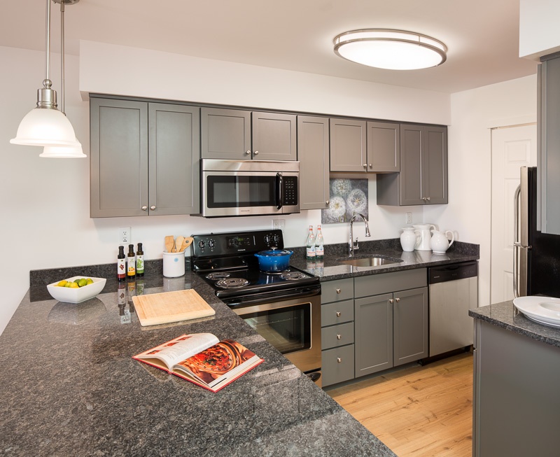 Modern, upscale finishes in the newly renovated units appeal to more upscale tenants.