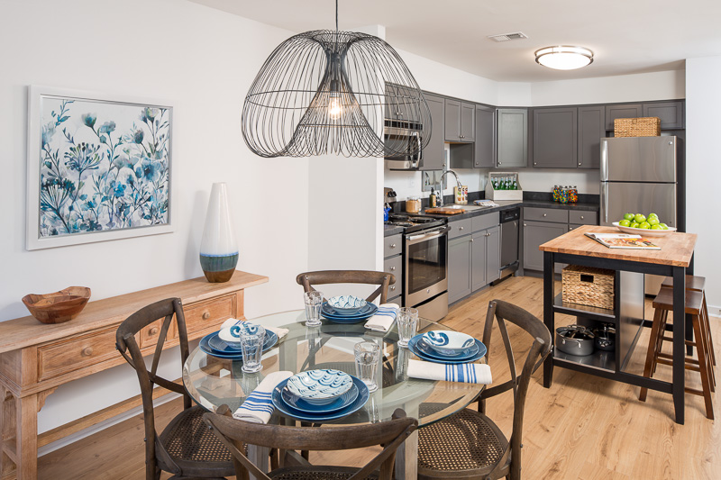 Fresh, modern interiors in the model units appeal to upscale tenants.