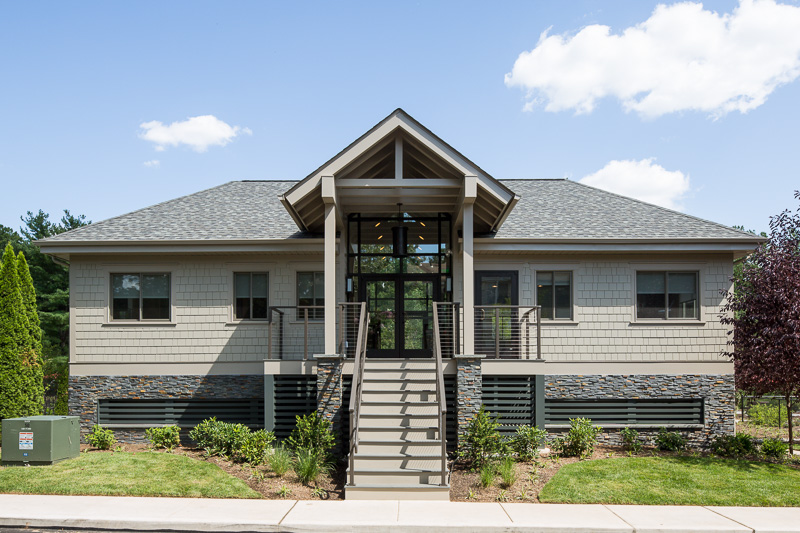 The clubhouse at Yardley Crossing was transformed into a stylish Craftsman-style multi-purpose space.