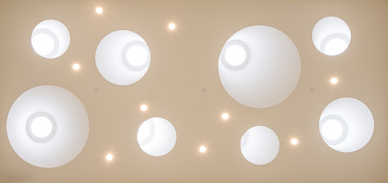 Detail of skylights in the ceiling.