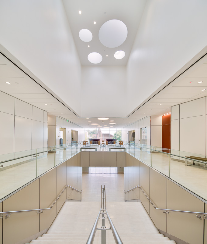 Main stairwell and common space with circular skylights above.