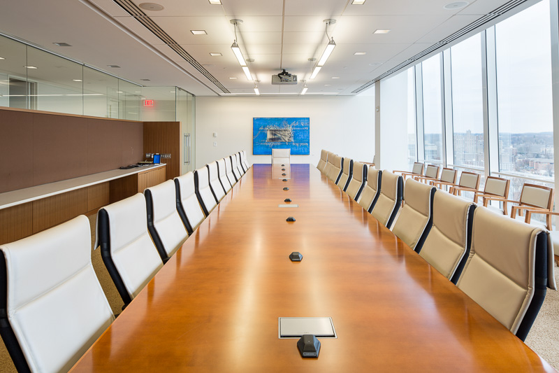 Upper floor law firm conference room.