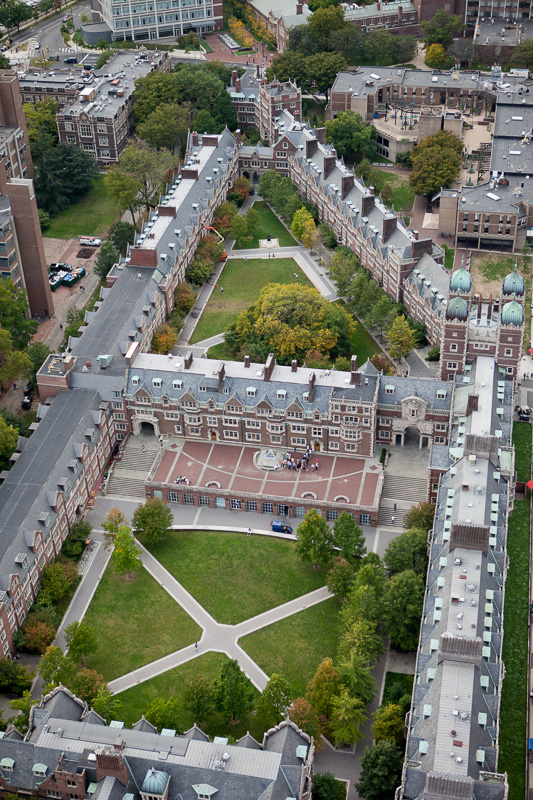 An overhead view captures the precise geometry of the Quadrangle and student housing at University of Pennsylvania.
