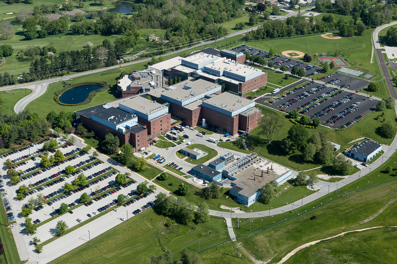 Aerial photography showcases the lush green campus of Glaxo Smith Kline in King of Prussia, PA.