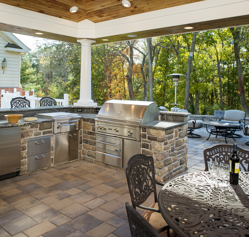 An outdoor chef's dream setup, this covered outdoor pavilion is the center of any party.
