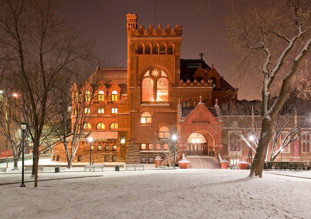 Philly scene of winter.  The Fischer Fine Arts Library at the University of Pennsylvania, designed by Frank Furness.