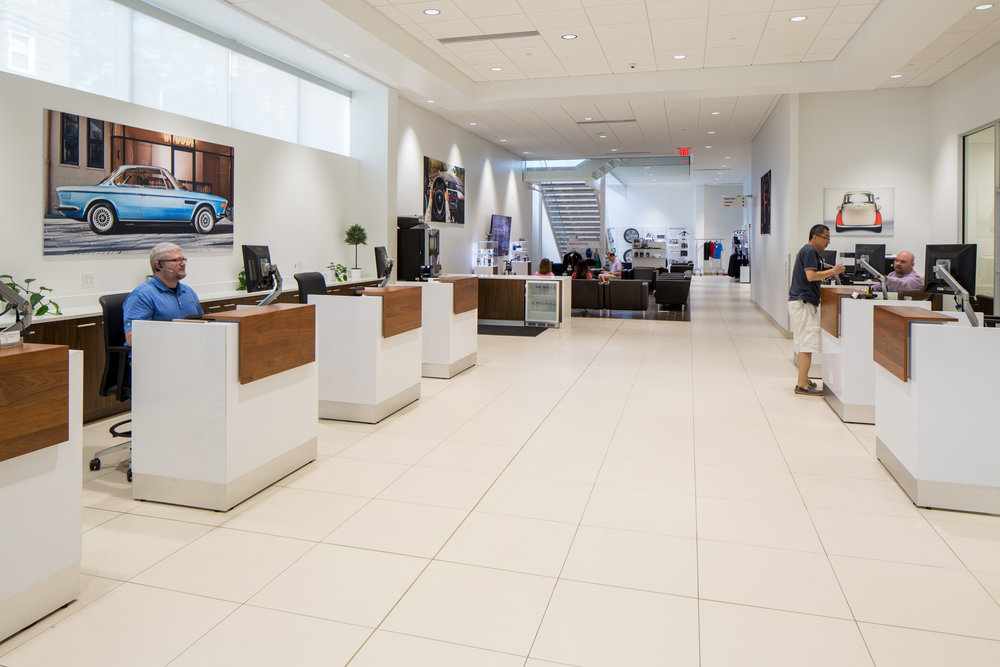 Streamlined customer service center acts as a gateway to the owners's lounge.