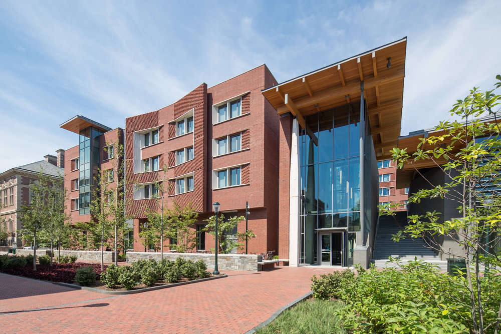 Timber and concrete lend a somewhat rustic, but sophisticated feel to the building's main entrance, one that complements the meticulous landscaping.